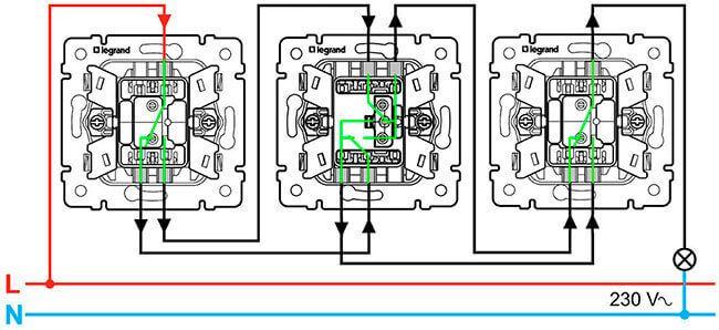 Схема выключателя света с тремя клавишами