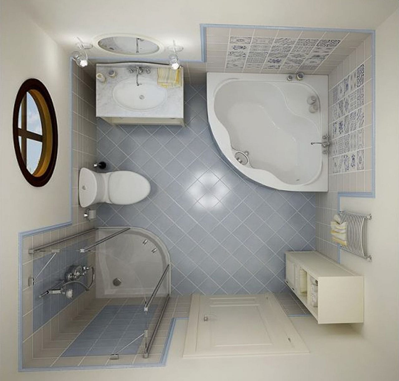 kamar mandi interior dengan jendela di pondok. desain kamar mandi